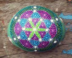 Hand Painted Flower of Life Mandala Stone - 11cm x 8.5cm diameter - 4.5cm depth - dotillism