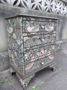 SOLD****Small Four Drawer Vintage Chest restyled in William Morris Strawberry Thief Business Furniture, Hand Painted Furniture, Funky Furniture, Paint Furniture, Upcycled Furniture, Furniture Making, Furniture Design, Furniture Stores, Outdoor Furniture
