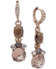 Image 1 of Givenchy Gold-Tone Crystal & Stone Drop Earrings