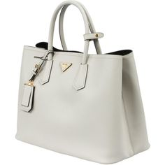 Prada Saffiano Leather Tote ($1,650) ❤ liked on Polyvore featuring bags, handbags, tote bags, bolsas, prada purses, white tote, white purse, prada handbags and white handbags
