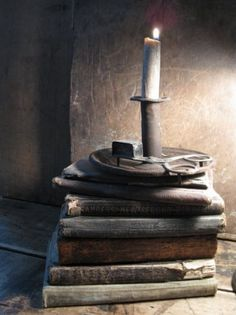 Old Books and Early Lighting Old Books, Antique Books, Vintage Books, Primitive Lighting, Primitive Candles, Rustic Lighting, Chandeliers, The Book Thief, Shabby