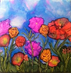 Whimsical floral alcohol ink on 4 by 4 tile