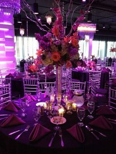 The latest help for %%keywords%%! In case you are inviting your family to a destination quinceanera, determine if they wish to stay for your honeymoon also. This enables them to celebrate your quinceanera event experience more memorable for everybody! Black Calla Lily, Purple Table, Quinceanera Themes, Halloween Masquerade, Beautiful Table Settings, 15th Birthday, Wedding Centerpieces, Our Wedding, Wedding Ideas
