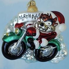 Christopher Radko Christmas Ornaments,Taz Motorcycle Santa,  2000, 00-WB-03, Warner Bros. Looney Tunes, North Pole, Mint with Tag, Box
