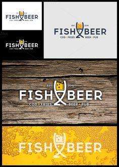 Fish and Beer Pub Logo by gabicotza on @creativemarket