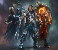 Magic: The Gathering planeswalkers: (L-R) Sorin Markov, Jace Beleren, Gideon Jura, Chandra Naalar, and Garruk Wildspeaker