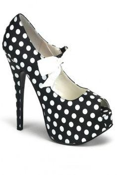 Polka Dots Peep Toe Platform Pumps Heels