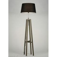 Gezien op beslist.nl: Vloerlamp 30436 modern retro hout stof grijs ...