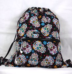 New drawstring backpack black floral scull / day of by DimeBagLove