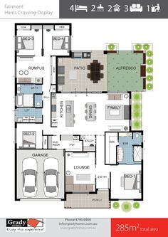 Grady Homes Builder Floor Plans - Fairmont Display Home Design. House Floor Plan with 4 bedrooms, 3 living rooms, courtyard & butler's pantry 3d House Plans, Family House Plans, Best House Plans, Dream House Plans, Custom Home Builders, Custom Homes, Fairmont Homes, 4 Bedroom House Designs, Minimalist House Design