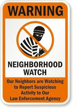 """Amazon.com: MySecuritySign K-1114-AL-12x18-D6 Aluminum """"Neighborhood Crime, Report Suspicious Activity To Our Law Enforcement Agency With Su..."""