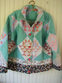 Jacket From a Patchwork Quilt Vintage Buttons by ChickenLittleToo