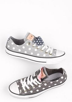 Grey with white polka dots converses... In love with these! @Kelly Teske Goldsworthy Teske Goldsworthy Daldos these look like you!