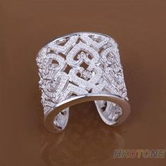Cheap crystal ring, Buy Quality open ring directly from China ring wide Suppliers: Fashion Hollow Solid Silver Plated Crystal Rings Wide Band Opening Ring 925 Silver, Silver Jewelry, Silver Rings, Fashion Rings, Fashion Jewelry, Open Ring, Filigree Ring, Band, Silver Plate