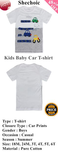 Boys Pure Cotton Short Sleeve T-shirt Top Kids Baby Car T-shirt