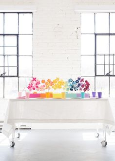 Rainbow Paper Flower Tablescape
