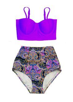 Violet Midkini Underwire Top and Paisley Flower High waisted waist Bottom Bikini set Swimsuit Swimwear Swim Bathing suit dress wear S M L XL by venderstore on Etsy
