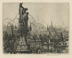 Jan Vondrous / etching / Saint Luitgarda Statue / Charles Bridge / Prague / intaglio / printmaking / drawing / art / decor / Czech
