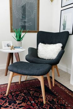 gray wingback modern chair and foot stool with teak legs // interior design #decor #furniture
