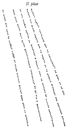 """Il Pleut"" (It's Raining) is a poem from Apollinaire's Calligrammes. The sonic quality of the words and the general sensations and emotions felt upon reading the poem are more important than litera..."