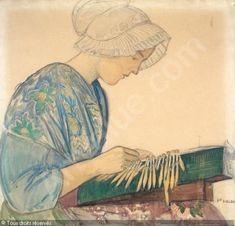 La dentellière. Aquarelle en 1922 de Ernest BIÉLER (suisse 1863 - 1948)
