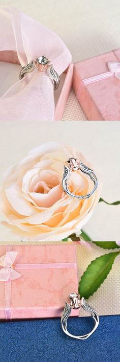 Makes this lovely Rose Floral Ring a great gift for anniversary, engagement, promise ring, birthday, unique gift or any special occasion! Cute Gifts, Unique Gifts, Great Gifts, Diamond Alternatives, Whimsical Fashion, Morganite Ring, Yoga Fashion, Promise Rings, Beautiful Rings