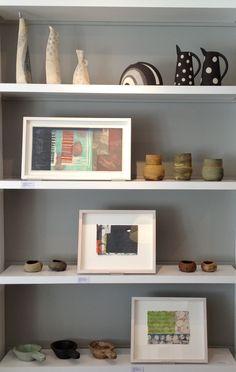 Hilary Duncan Ceramics, Paul Furneaux RSA Mokuhanga Prints, Kerstin Gren Ceramics, Antique Wooden Bowls. www.claremontgallery.co.uk Wooden Bowls, Bookshelves, Floating Shelves, Entryway Tables, Sweet Home, New Homes, Ceramics, Crafty, Antiques