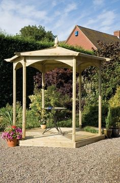 Grange Brettenham Gazebo Hexagonal No Sides. A lovely compact gazebo/garden sitting area. Wooden Garden Gazebo, Gazebo Pergola, Pergola Kits, Pergola Ideas, Hexagon Gazebo, Tongue And Groove Cladding, Decking Base, Timber Roof, Shade Structure