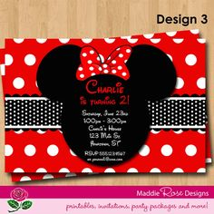 Minnie Mouse Invitation Printable, Red or Pink Birthday Party You-Print Custom Personalized Digital Photo Card Invites 4x6 or 5x7. $7.50 USD, via Etsy.