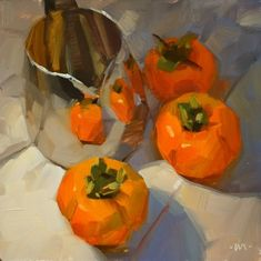 Reflecting Persimmons, painting by artist Carol Marine