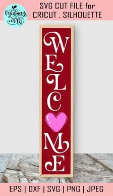 Welcome valentine porch sign svg valentine cut file | Etsy Wooden Welcome Signs, Porch Welcome Sign, Wood Signs, Front Porch Signs, Craft Stickers, Pattern And Decoration, Outdoor Christmas Decorations, Christmas Signs, Journal Cards