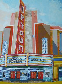 "Just finished my first painting in my new Napa Neighborhood series. This one is entitled ""Uptown Theater."" Check out my website for more background information on my upcoming Napa Neighborhood series."