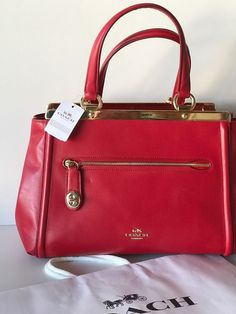 COACH Red LEX Smooth Leather Satchel Bag F38260 NWT NEW #Coach #Satchel