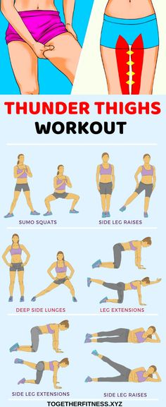 6 best exercises to eliminate thigh fat how to get a thigh gap get rid of fat between my thighs thighgap thigh exercises for tight toned inner and outer thighs Gym Workout Tips, Fitness Workout For Women, Fitness Workouts, At Home Workouts, Fitness Diet, Health Fitness, Workout Exercises, Stretching Exercises, Exercise At Home