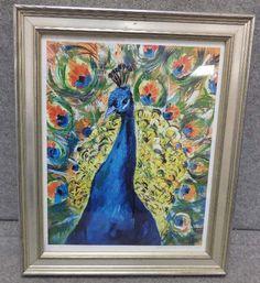 shopgoodwill.com: Peacock Oil Color Print