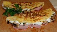Crepes de jamón, queso y champiñones light