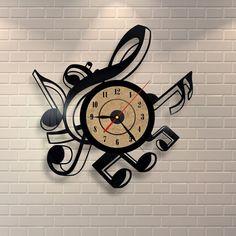 Music art clock made of vinyl record, music gift, music notes wall art, music decor, music decorations, music gifts for men.
