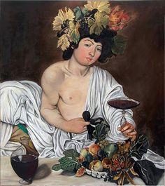 #Oil painting, reproduction Bacchus #Caravaggio. di LabLiu su Etsy #etsy #falsidautore #dipinti #caravaggio #bacco #italia #artigianato #arte