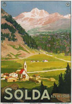 TV18-Vintage-1920-039-s-Italy-Italian-Solda-Sulden-Tyrol-Travel-Poster-Re-Print-A4