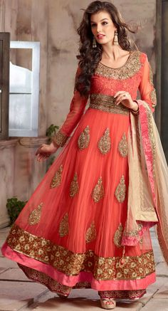 USD 83.09 Salmon Georgette Ankle Length Anarkali Suit 42515