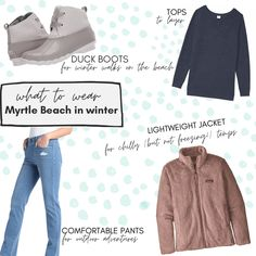 The weather is usually chilly but not freezing. What to wear in Myrtle Beach during the winter: comfortable pants for outdoor adventures like exploring Huntington Beach State Park, a cozy, lightweight jacket, tops to layer, and comfortable boots for walking outside on the beach, around outdoor shopping centers, to Brookgreen Gardens, and more! Myrtle Beach State Park, North Myrtle Beach, Winter Walk, Winter Boots, Barefoot Landing, Myrtle Beach Things To Do, Beach Shack, Comfortable Boots, Duck Boots
