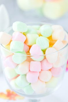 sweet small candy marshmallows in pastel / neon colour