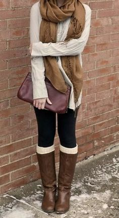 Brown shawl, creamy sweater, black leggings, brown long boots and hand bag combination for fall