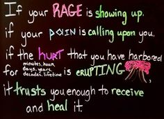 If your  rage is  showingup if your  pain is  callingupon  you if the  hurt that your have harbored for minutes hours days years decades lifetime is erupting it  trusts you enough to  receive and  heal it.Tweaked a quote from ChaniNicholasOld pains and traumas tend to come up when you are in a safe enough space to address and heal from them. The first time it happens it can be a scary experience because you would think the past would stay in the past It doesnt But you can heal from them… Instagram Users, Instagram Posts, Trust Yourself, Trauma, Rage, First Time, In The Heights, New Experience, Scary