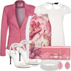 Pink pallete - Floral skirt-white blouse. Alice + Olivia blouses, Vero Moda blazers and Preen skirts.