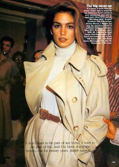 Cindy Crawford in Ralph Lauren, 1991 80s And 90s Fashion, Retro Fashion, Trendy Fashion, High Fashion, Vintage Fashion, Fashion Outfits, Fashion Trends, Cheap Fashion, Street Fashion