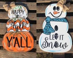 Make your entrance super cute this fall and Christmas with our reversible pumpkin / snowman door hangers! The door hanger is custom cut wood and is 21 inches high! This is hand drawn and complete Thanksgiving Crafts, Fall Crafts, Halloween Crafts, Holiday Crafts, Fall Halloween, Christmas Crafts, Christmas Decorations, Xmas, Pumpkin Decorations