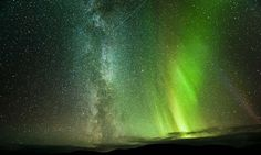 Stunning image of the night sky captures Northern Lights, Milky Way and a meteorite in the same frame