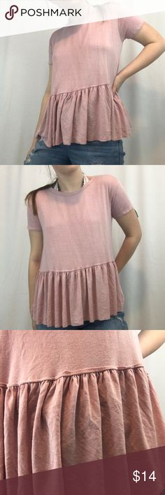 Blush Loose Soft Blouse Super soft! Nice and loose and fairly stretchy. This is a blush colored blouse from the brand Caution To The Wind with an adorable wrinkled hem. In perfect condition! I am open to offers and I do 15% off on bundles! Tops Blouses