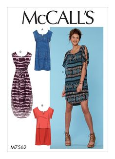 McCall's exposed shoulder dress sewing pattern. M7562 Misses' Pullover Dresses with Sleeve Ties, Pocket Variations, and Belt
